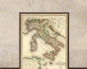 Italy map - Wall map - Antique map print - Vintage map of Italy - Fine  reproduction