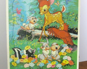 Vintage Puzzle - Frame Tray - Bambi - Walt Disney - 1980 -Golden - Retro Toy Puzzle - Made in the USA