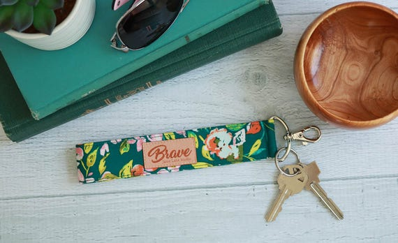 Emerald Green Key Lanyard | Wrist Strap Key Chain with Pink, Yellow, and Orange Leaves on Green Background