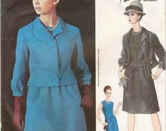 Elegant Uncut Vintage 1960s Vogue Couturier Design 1514 Designer Ronald Paterson Slim Dress and Jacket Sewing Pattern B31