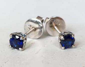 Royal Blue Sapphire Earrings 18k White Gold Screw Backs