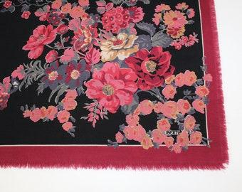 Vintage Liberty of London huge varuna wool shawl wrap large scarf black pink floral flower pattern
