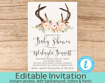 Rustic Baby Shower invitation, Baby Shower Invitation, Floral Antlers Invite, Boho Baby Shower, Editable Invitation, Instant Download
