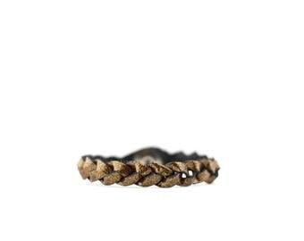 Braided Leather Bracelet / Pyrite