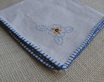 Ladies Linen Handkerchief, Off White Linen Hankie, Blue Hand Stitched Pocket Scarf, Embroidered Flower Hankie, Hanky