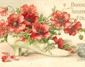 Ladies Shoe with Poppy Flowers Antique French Postcard Post Card from Vintage Paper Attic