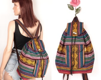 mexican woven backpack // drawstring closure