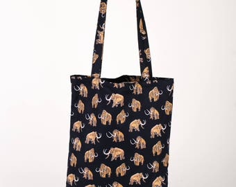 Handmade woolly mammoth tote bag, black tote, animal tote bag