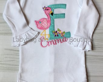 Girl's Pink Flamingo Initial Short/Long Sleeve Bodysuit with Monogram Sizes 0/3M, 3/6M, 6/9M, 12M, 18M