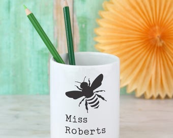Personalised pen pot, bumble bee with any name! Teacher thank you gift - Desk tidy - pencil pot - desk storage - best friend gift - teacher