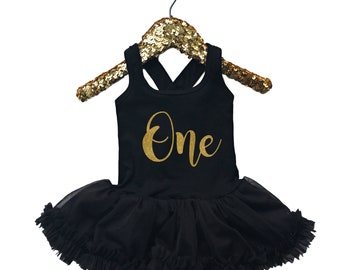 Baby Girls First Birthday Dress - Black Gold - 1st Birthday Dress - First Birthday Outfit - Gold Sparkle ONE
