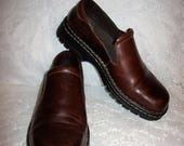 Vintage Ladies Brown Leather Slip Ons Loafers by Eastland Size 8 1/2 W Only 12 USD