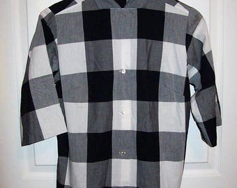 Vintage 1950s Ladies Black & White Plaid Shirt Blouse by Lady Manhattan Size 12 Only 12 USD