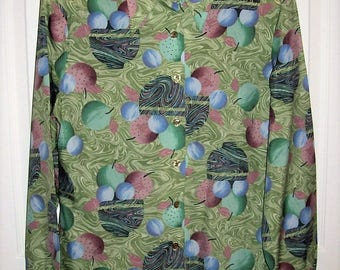 Vintage 1960s Ladies Multi Color Fruit Print Blouse Mod Shirt by Mardi Modes Medium Only 9 USD