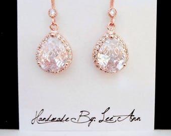 Rose gold earrings ~ Bridal earrings, Cubic zirconia earrings ~ Rose gold teardrop earrings ~ Rose gold bridal earrings,Bridesmaids earrings