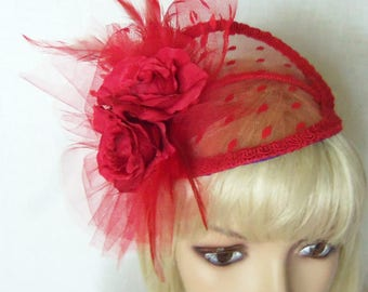 Red Fascinator Hat - Red Mini Hat - Roses and Polka Dots