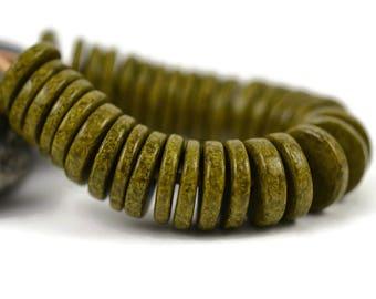 Mykonos 13mm Washer Round - Dark Olive - Greek Ceramic Beads - QTY: 25, 50 or 100