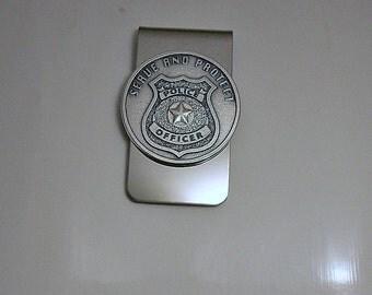 Police Medal Money Clip  Serve & Protect