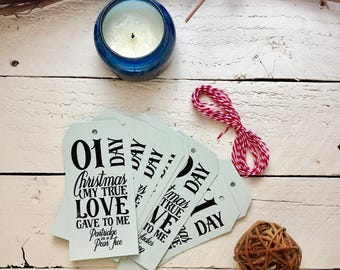 CHRISTMAS Holiday, 12 days of Christmas, 12 Gift Tags, My True Love Gave to Me, Christmas Tags