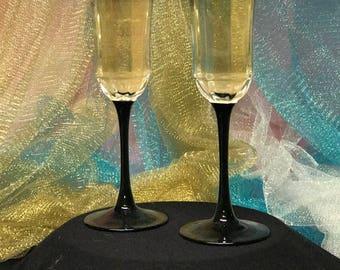 Black Bottom Champagne Flutes-custom (made in France)