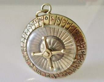 Large 9ct Gold Roulette Wheel and Dice Enamelled Charm or Pendant