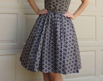 bobbie brooks STAR PRINT DRESS velvet on gingham 1950's 50's S 25 waist