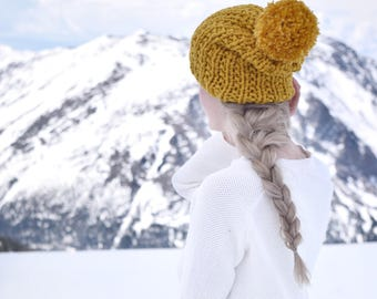 Mustard Knit Hat Womens Slouchy Hat Pom Beanie / Womens Fall Fashion Autumn Mustard Yellow Knit Hat Pom Pom / Gift For Her / Gifts Under 50