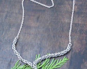 Stainless Steel Byzantine Necklace with Amazonite Druzy Pendant