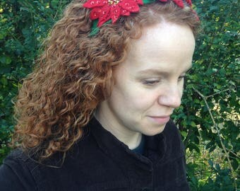 vintage poinsettia ugly christmas sweater headband