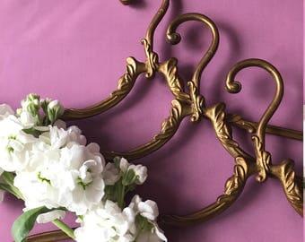 Gold Vintage Brass Curved Clothes Antique Brass Coat Art Nouveau Unique Bronze