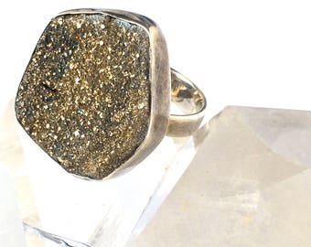 Golden Pyrite Druzy Ring-Sparkling Druzy RING -Sterling Silver Ring-size 8- on SALE!