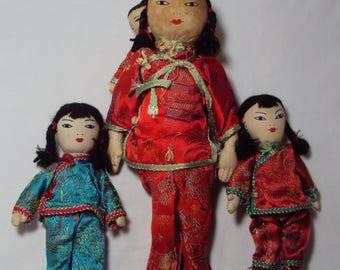 Vintage Mother & Baby + 2 Girl Cloth Dolls in Silk Pajamas Hong Kong