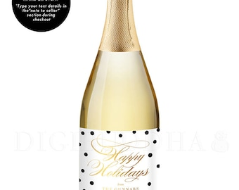 Holiday Party Favor CHAMPAGNE LABELS Holiday Gift Champagne Label Happy Holiday Gift Holiday Party Favor Holiday Wine Label Gifts - Gunnar