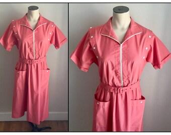 Vintage 1980s Coral Pink Willi California Short Sleeve Shirt Dress Small 4 6
