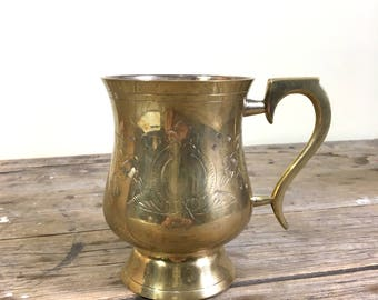 Brass Coffee Mug, handled stein type cup with gift box