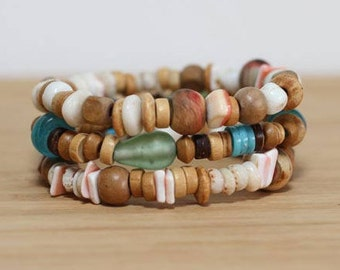 Summer Shell Bracelet, Bracelet Set, Wood Bracelet, Stackable Bracelet, Hippie Jewelry, Festival Bracelets, Traveler Gift