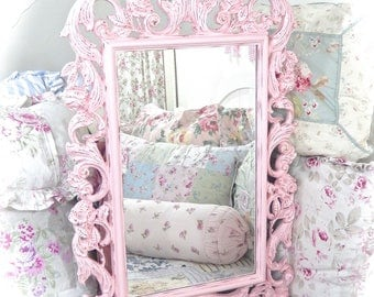YOU PICK COLOR Shabby Ornate Baroque Large Big Scrolled Rectangular Custom Wall Mirror Fancy Princess Roses Floral Home Decor Cottage Chic