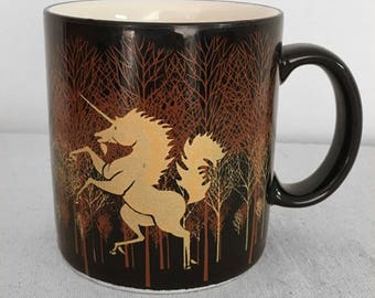 UNICORN Coffee Mug 1980s Otagiri Japan Tea Cup Black + Brown