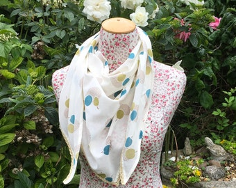 Scarf in a bold  apple design cotton fabric. FREE UK P&P. Cotton neckerchief with added crochet trim.