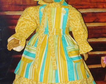 1850's Day Dress, Apron, Bonnet & Bloomers - Fits American Girl Doll Kirsten