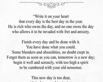 Ralph Waldo Emerson Quote - Every Day is the Best Day - Emerson Print - Literature Print - Graduation Gift - Inspirational Quote - Book Gift