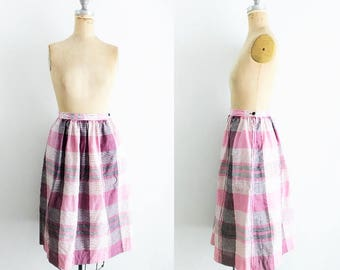 Vintage Pink Purple Plaid Skirt Purple Black Plaid Skirt Plaid Tea Length Skirt Pink Plaid Skirt Plaid Midi Skirt Pink Black Medium Size 10