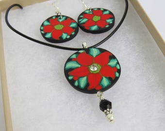 Poinsettia flower, Jewelry sets, Necklace and Earrings, Gift for her, Red necklace, chic jewelry, Artisan jewelry, Handcrafted