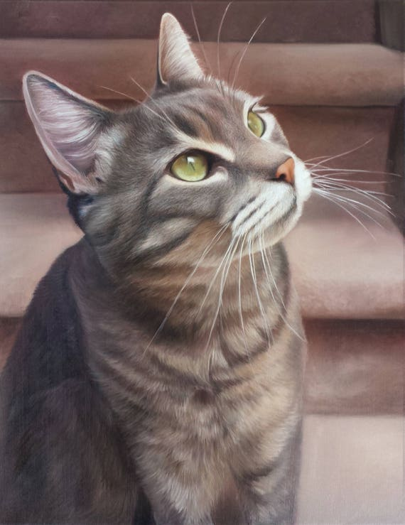 CAT PORTRAIT - Oil Painting - Pet Portrait - Cat Painting - Tabby Cat Art