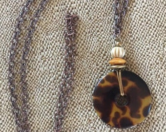 """One-of-a- Kind Tortoise Shell Style  30"""" No-clasp No Hassle  Necklace Free Shipping US"""
