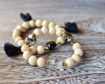 Wood, Crystal, Pyrite and Black Tassel Bracelets