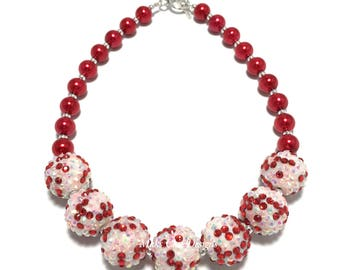 Toddler or Girls Red, Pink and White Chunky Necklace - Valentine's Day Chunky Necklace - Bling & Pearl Chunky Necklace - Red Pearl Necklace