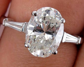 Estate Vintage 2.83ctw Oval Diamond Trilogy Engagement Wedding Platinum Ring EGL USA