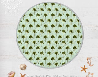 Palm Trees Island Boho Baby Play Mat. Organic Cotton or Linen Quilted Circle Rug. Vintage Style Print. Ready to Ship in 5 days
