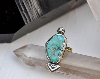 Sky People Collection | Turquoise x Brass x Sterling Silver  | Keeper of the Night Ring I